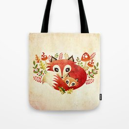 Fox Mom & Pup Tote Bag