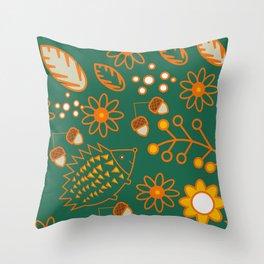 Hedgehog garden Throw Pillow