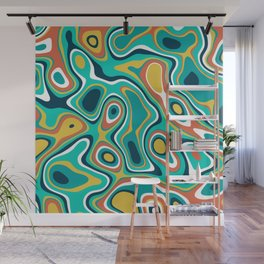 Abstract colorful flowing wavy shapes pattern Wall Mural