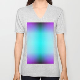 Purple Blue Black Ombre Hexagons Bi-lobe Contact binary Unisex V-Neck