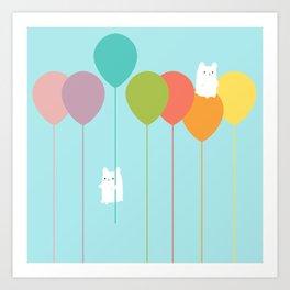 Fluffy bunnies and the rainbow balloons Art Print
