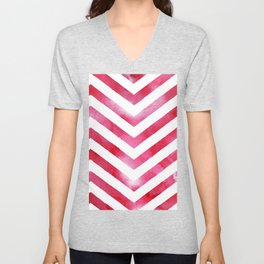 Watercolor Chevro, Red Chevron Striped Watercolor, Home And Accessories Unisex V-Neck