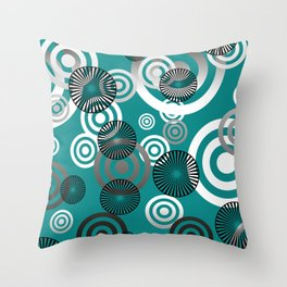 Spiral circles black & white - turquoise Throw Pillow
