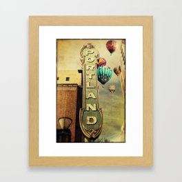 Whimsical Portland Oregon (Hot Air Balloon Ride) Framed Art Print