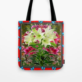 BLUE BUTTERFLIES &  LILY FLOWER  RED ART Tote Bag