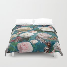 White Roses and Butterflies Duvet Cover