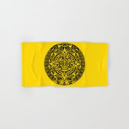 Mayan Calendar // Yellow Hand & Bath Towel