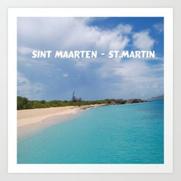 Tropical sandy beach of Sint Maarten - St. Martin Art Print