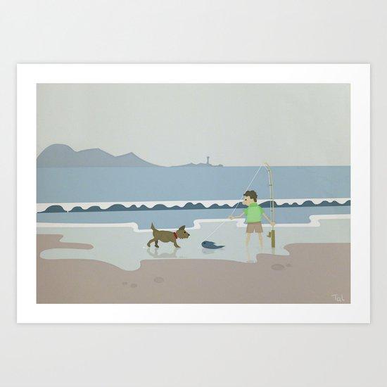 Fish and Dog Beach Wall Art, Beach Art Nursery Decor, Nursery Wall Art for Boys Room Art Print