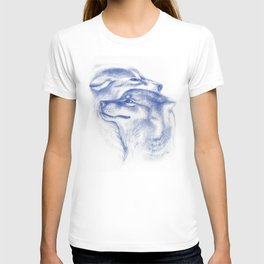 Two Wolves In Blue Art Drawing T-shirt