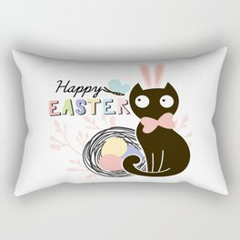 Happy Easter - Cute Black Cat with pink Bunny ear and blue Spring butterfly Rectangular Pillow