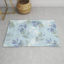 Pretty tropical Palm leaf pattern illustration - blue, kaki #tropicalart Rug