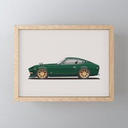 Legendary Classic Green 240z Fairlady Vintage Retro Cool German Car Wall Art and T-Shirts Framed Mini Art Print