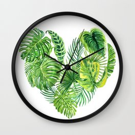 heart made of watercolor tropical leaves Wall Clock