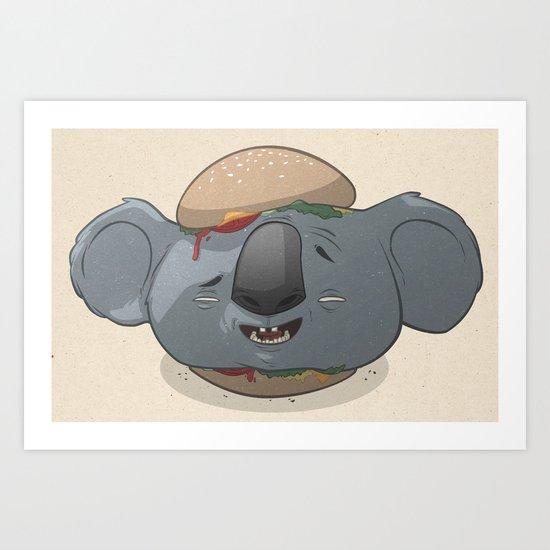 Koala Burger Art Print