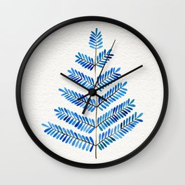 Blue Leaflets Wall Clock