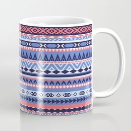 Blue and Coral Aztec Stripes Coffee Mug