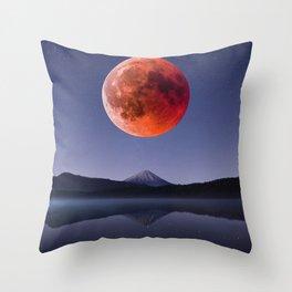 Blood Moon over Mt Rainier Washington State Throw Pillow