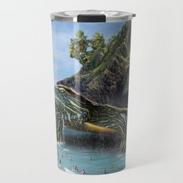 Giant Turtle Island on a Beach Travel Mug