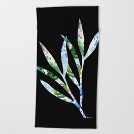 January leaves -watercolour on black background Beach Towel