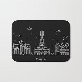 Bruges Minimal Nightscape / Skyline Drawing Bath Mat