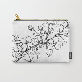 Apple Blossoms, A Continuous Line Drawing Carry-All Pouch