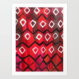 Red and Black Diamond Chevron  Art Print