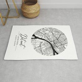 Detroit Area City Map, Detroit Circle City Maps Print, Detroit Black Water City Maps Rug