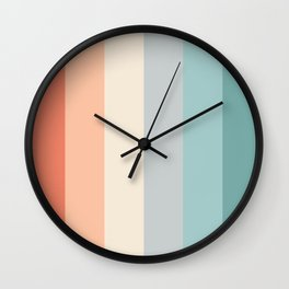 striped color pattern - red , orange, grey, green, Wall Clock