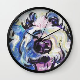 Golden Doodle Dog Portrait Pop Art painting by Lea Wall Clock