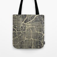kansas city Tote Bags featuring Kansas City map by Map Map Maps