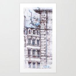 Lyon sous la pluie Art Print