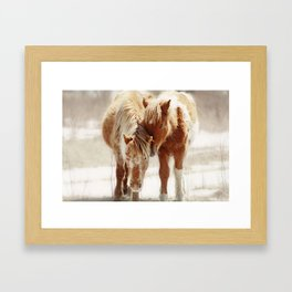Love Connection Between Two Horses Framed Art Print