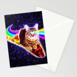 Rainbow Laser Eyes Galaxy Cat Riding Taco Stationery Cards