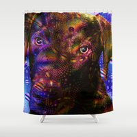 lab Shower Curtains featuring Chocolate Lab by Roger Wedegis