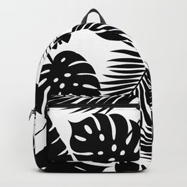 Tropical Leaves - Black on White Backpack