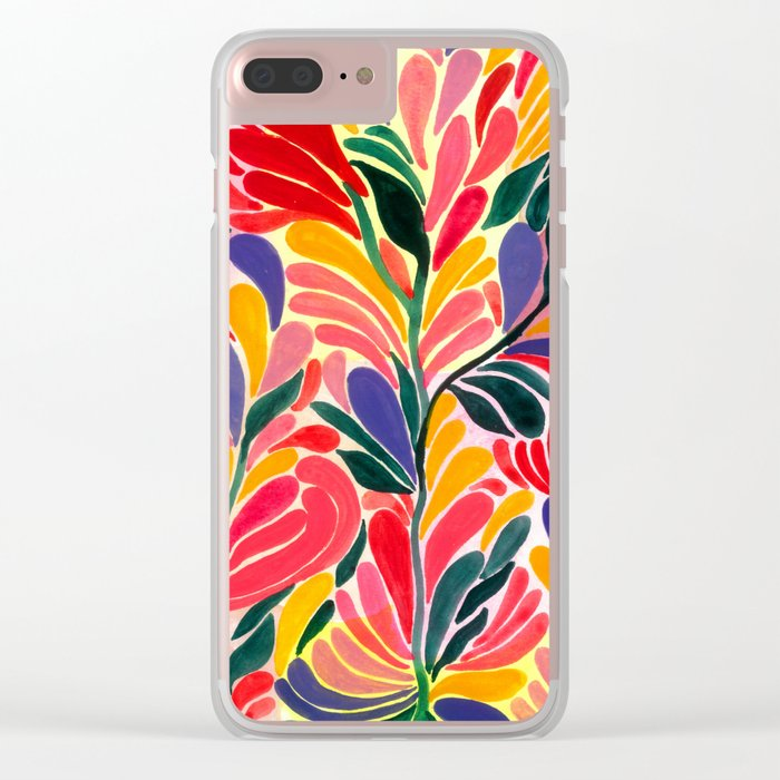 Colorful Petals Pattern Clear iPhone Case