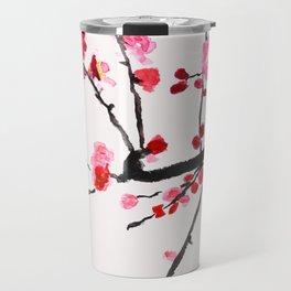 red plum flower red background Travel Mug