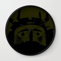 military Wall Clocks featuring VIKING (MILITARY GREEN) by Silvio Ledbetter