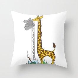 Long Long Giraffe Bong Throw Pillow