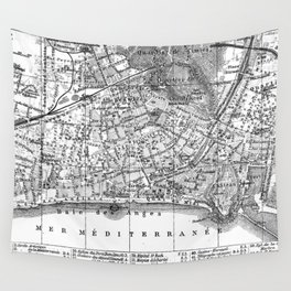 Vintage Map of Nice France (1914) BW Wall Tapestry