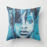 rihanna Throw Pillows featuring Rihanna by Nechifor Ionut