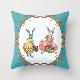 Dressed Easter bunnies 2a Throw Pillow