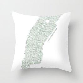 Map Manhattan NYC watercolor map Throw Pillow
