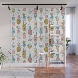 Tropical cocktails summer drinks pineapple tiki bar pattern by andrea lauren Wall Mural