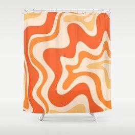 Tangerine Liquid Swirl Retro Abstract Pattern Shower Curtain