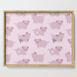 Cute Pink Piglets Pattern Serving Tray