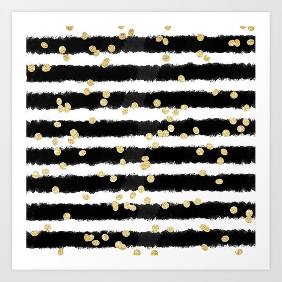 Modern black watercolor stripes chic gold confetti Art Print