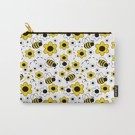 Honey Bumble Bee Yellow Floral Pattern Carry-All Pouch