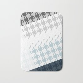 Modern Houndstooth Reinterpreted A – Navy / Gray / White Checked Pattern Bath Mat